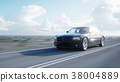Black luxury car on road, highway. Daylight. Very 38004889