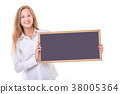Beautiful caucasian woman in white shirt and holding blank blackboard. Studio shooting isolated on white 38005364