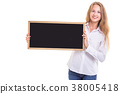 Beautiful caucasian woman in white shirt and holding blank blackboard. Studio shooting isolated on white 38005418