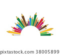 Set of colored pencils on white background 38005899
