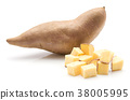 Fresh raw sweet potato isolated on white 38005995
