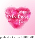 Happy Valentine's Day Lettering on pink watercolor 38008581