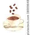 咖啡 電腦線上鑑識證據擷取器 水彩畫 38009648