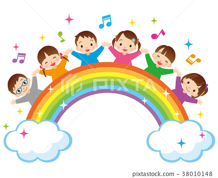 Rainbow and children 38010148