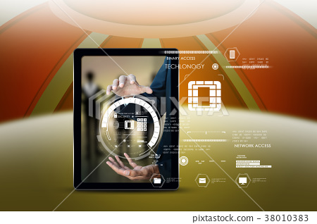 Businessman pressing virtual buttons 38010383