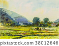 Landscape painting colorful of mountain 38012646