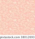 Tender pink pattern with spring hand drawn flowers 38012693