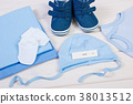 Pregnancy test with positive result and clothing 38013512