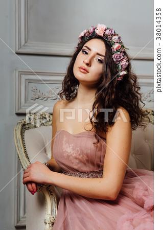 Luxurious sexy girl in an evening cloudy dress 38014358
