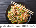 Buckwheat noodles with carrots, peas 38016622