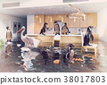 birds in the flooding kitchen 38017803