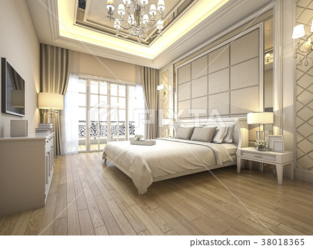 modern luxury classic bedroom with marble decor 38018365