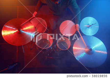 The drum set on the stage. Drummer. 38019856