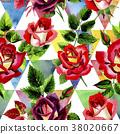 watercolor, colorful, rose 38020667