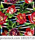 watercolor, colorful, rose 38020716
