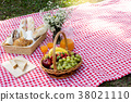 picnic bread crossiant basket with fruit  38021110