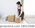 골판지 상자와 여성 38022686