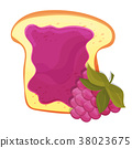 Raspberry jam on toast with jelly. Made in cartoon 38023675