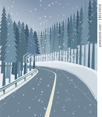 Winter landscape with forest, snow and road 38024856