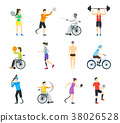 Cartoon Disabled Sports Characters Icon Set 38026528