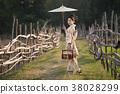 Japanese women wear kimono holding umbrellas  38028299