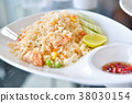 Fried rice with prawns, Thai food. 38030154