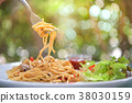 Spaghetti with chicken. 38030159