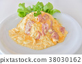 Creamy Omelet with Bacon on Rice 38030162