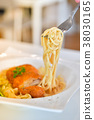Spaghetti with spicy fried chicken 38030165