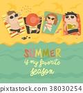 vector, children, beach 38030254