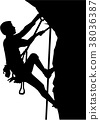 Climber silhouette in ropes an a rock 38036387