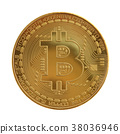 Golden bitcoin isolated on white background 38036946