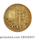 Golden bitcoin isolated on white background 38036947