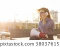 girl, speaker, phone 38037615