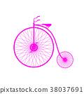 Pink silhouette of vintage bicycle 38037691