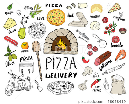 Pizza menu hand drawn sketch set. vector  38038419