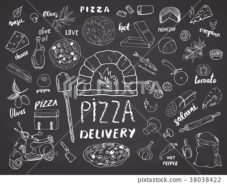 Pizza menu hand drawn sketch set. vector  38038422