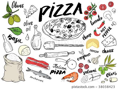 Pizza menu hand drawn sketch set. vector  38038423
