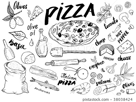 Pizza menu hand drawn sketch set. vector  38038424