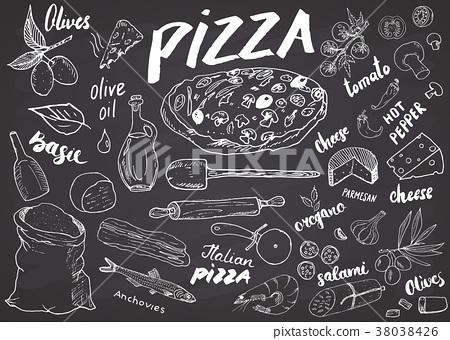 Pizza menu hand drawn sketch set. vector  38038426