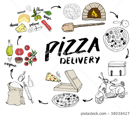 Pizza menu hand drawn sketch set. vector  38038427