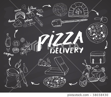 Pizza menu hand drawn sketch set. vector  38038430