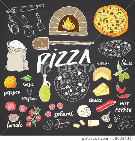 Pizza menu hand drawn sketch set. vector  38038433
