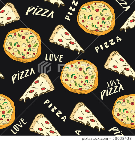 Pizza seamless pattern hand drawn sketch. Vector  38038438