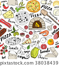 pizza, pattern, vector 38038439