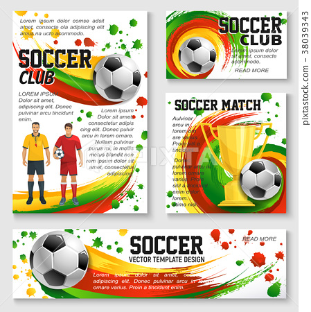 Soccer sport club banner of football trophy, ball 38039343
