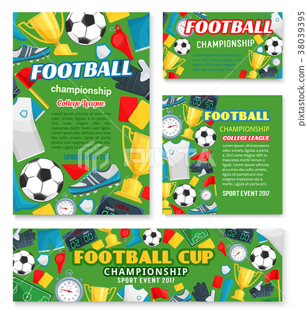Football match sport event banner of soccer league 38039395