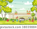 Spring landscape with garden tools 38039884