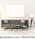 mock up poster frame in interior room,3D render 38040708