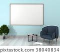 mock up poster frame in interior room,3D render 38040834